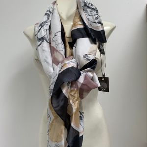 """VINCE CAMUTO Square 48"""" Scarf Flowers Butterflies"""